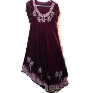 Woman's Summer Batik Embroidery Dress Cover Up